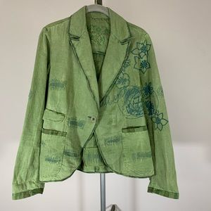 Desigual Green Embroidered Blazer Style Jacket